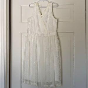 US Angels Ivory Sleeveless Wrap Dress